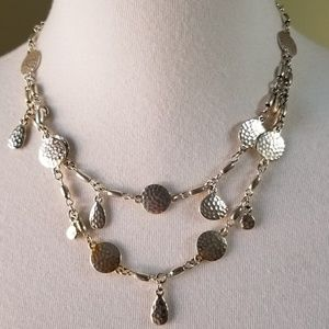 Premiere Designs Silver Tone Necklace Hammered
